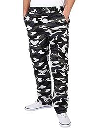 KRISP® Homme Pantalon Imprimé Camouflage Cargo Multi Poches Style Militaire
