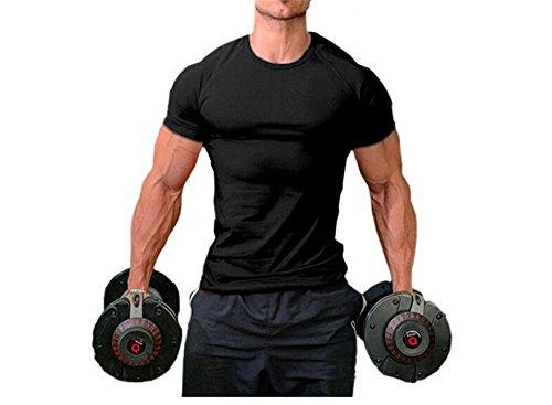 Hippolo Männer Pure Cotton Fitness T-Shirt Muskel Body Shirt Kurzarm (L, Schwarz) -