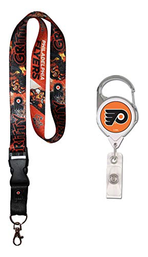 Wincraft NHL Philadelphia Flyers Geschenkset, 1 Premium-Lanyard, Gritty Mascot Edition und 1 Badge Spule