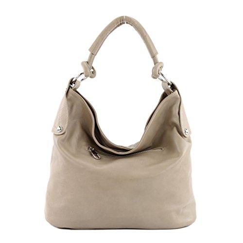 modamoda de - ital. Ledertasche Damenhandtasche Schultertasche Damentasche Nappaleder DS26 T61 Helltaupe