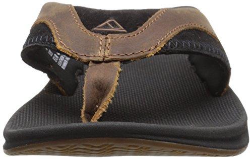 Reef  Leather Fanning, Sandales homme Noir (Black/Brown)