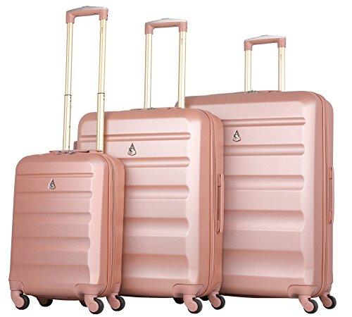 Aerolite set di 3 abs trolley valigie rigide leggeri con 4 ruote , 55cm bagaglio a mano + 69cm + 79cm , rosa oro
