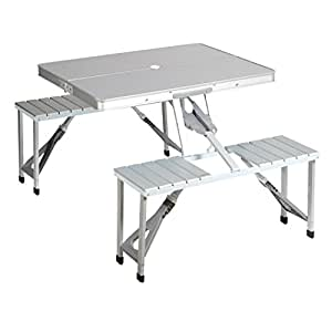 Table de pique-nique Campart Travel TA-0820 – Système de pliage sécurisé – Aluminium