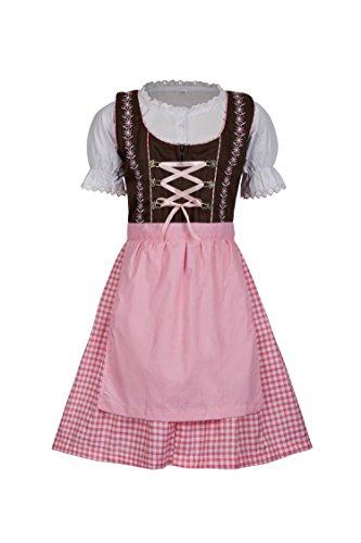 MS-Trachten 3 Teiliges Kinder Dirndl Emma (164, Braun Pink)