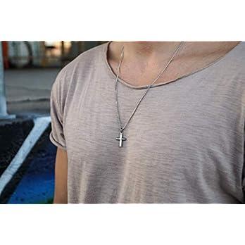 Made by Nami Herren Halskette mit Anhänger – 60 cm Herren Silber-Kette aus Edel-Stahl – Coole Kreuz-Kette – Handmade Glieder-Kette – Männer-Kette – Geschenk Geburtstag für Ihn (Silber Kreuz)