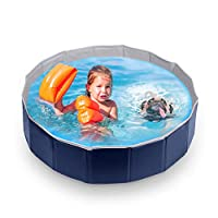 Slaouwo Foldable Pet Dogs Swimming Padding Pool Medium 80 x 20cm, Portable Pet Bahting Tub Collapsible Bathtub Wash Tub Water Pond Non-Slip Design for Cats Dogs and Kids