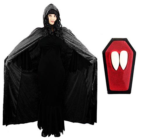 SCHWARZ GOTHIC-/VAMPIR-KLEID MIT SCHWARZEM UMHANG VAMPIR FANGS VELOURS IDEAL FÜR HALLOWEEN, FURCHTERREGEND HORROR-KOSTÜM KLEID, DRESSUP ZEICHEN IN DEN GRÖSSEN XS-XXL (Die Qualität Der Filme Halloween-kostüme Uk)