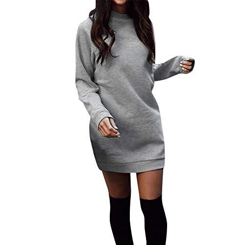 Damen Kleider,Elegant Strickkleid Pullikleid Wasserfallausschnitt Langarm Sweaterkleider,Winter Warm Longpullover Freizeitkleid Dasongff Einfarbig Bodycon Kleid -