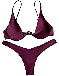 ba1b9ceee4a Perfectii Womens Bikini Set Two Piece Swimwear for Ladies Backless Solid  Colour Swimsuit