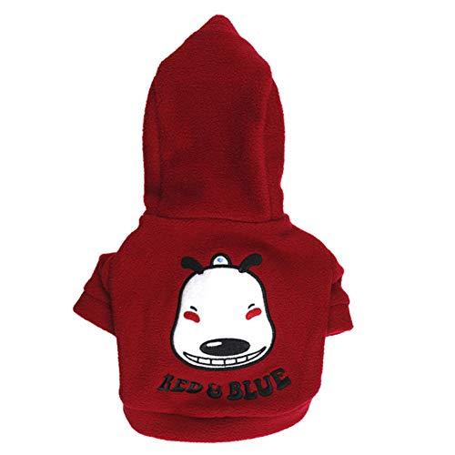 XGPT Hundebekleidung Haustier Kostüm Printed Hund Gesicht Fleece gehäteter Kleiner Hund mitfühlend,Brown,XS