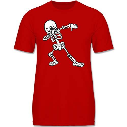 (Anlässe Kinder - Dabbing Skelett - 134-146 (9-11 Jahre) - Rot - F140K - Jungen T-Shirt)