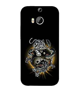 FUSON Designer Back Case Cover for HTC One M8 :: HTC M8 :: HTC One M8 Eye :: HTC One M8 Dual Sim :: HTC One M8s (Beautiful Graffiti Lion Tiger Wallpaper Chinese )