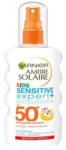 Garnier Ambre Solaire Kids Sensitive expert+ Sonnenschutz, mit LSF 50+, speziell für Kinder, zieht schnell ein, extra wasserfest, 200 ml -