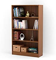 Bluewud Alex Wall Book Shelf/Home Decor Display & Storage Rack Cabinet Unit (Walnut, 4 Shel