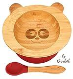 Bol Ventouse pour Bébé et Cuillère en Bambou Naturel   L'Original 'Bambol' par Finkolo   Forme Panda   Vaisselle Apprentissage   Coffret Repas Assiette
