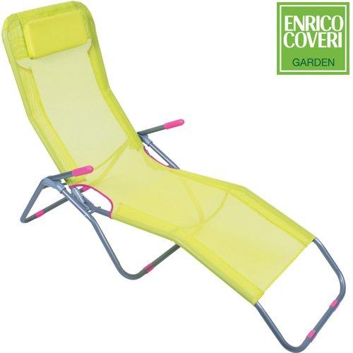 Sdraio per il giardino o per la spiaggia enrico coveri sedia sdraio pashà basculante in acciaio e textilene pieghevole giallo