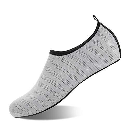 HMIYA Badeschuhe Strandschuhe Wasserschuhe Aquaschuhe Schwimmschuhe Surfschuhe Barfuß Schuhe für Damen Herren(Hellgrau,Größe41 42)