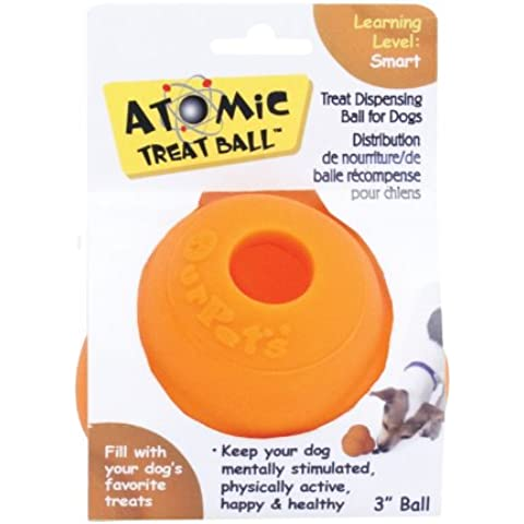 Our Pets ATOMIC TREAT BALL Interactive Tough Chew and Treat Dog Toy SMALL 7.6 cm