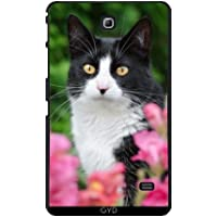 Custodia per Samsung Galaxy Tab 4 (7 inch) - Nero Gatto Bianco Fiori Rosa by Katho Menden
