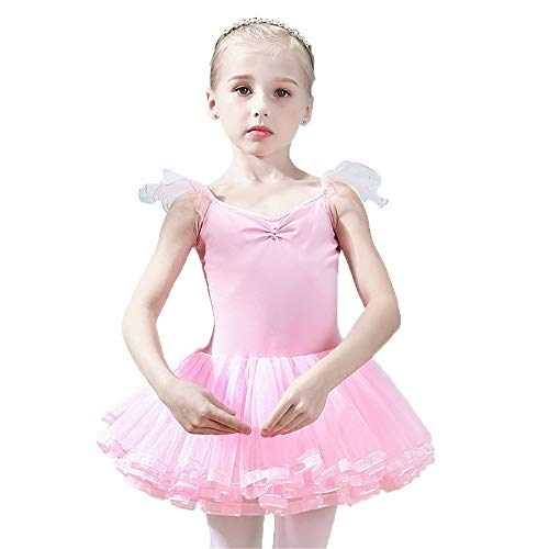 Dfghbn Mädchenkleider für Mädchen Little Big Girls Baumwolle Camisole Tank Top Tutu Gymnastikanzug Kleid Kid Low Cut Kreuz Zurück Sleeveless Ballettkleid Ballerina Tanzkleid Outfit Dance Wear ()
