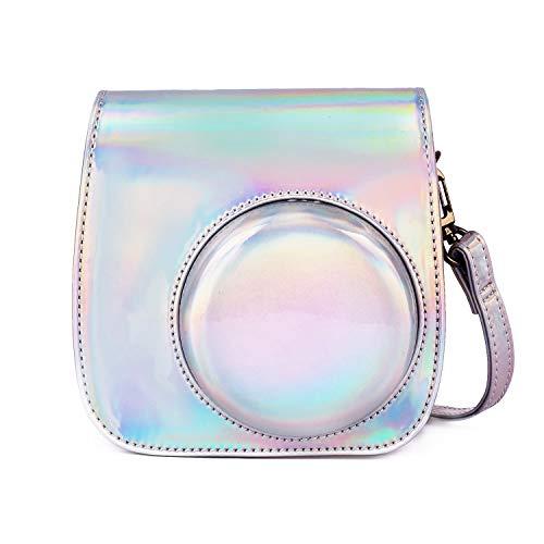 Leebotree Tasche Kompatibel mit Instax Mini 9 / Mini 8 8+ Sofortbildkamera, Schutztasche aus Weichem Kunstleder mit Schulterriemen und Tasche (Magisches Silber)