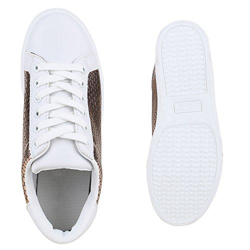 Sneakers Low Damen Weiße Turnschuhe Prints Metallic Freizeit Rose Gold