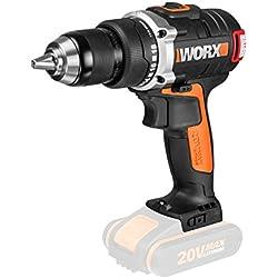 Worx wx175.9Moteur Brushless 20V Perceuse-visseuse sans fil Perceuse, mandrin, 13mm, 2vitesses, sans batterie, chargeur et accessoires, puissance de variable, au choix Noir/Orange