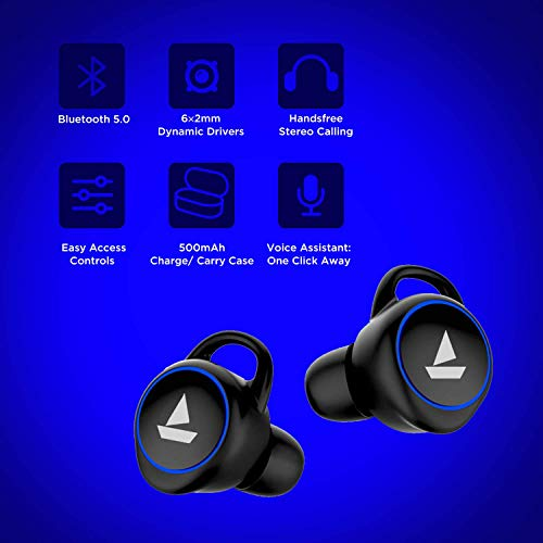 boAt Airdopes 311v2 True Wireless Earbuds (Bluetooth V5.0) with HD Sound and Sleek Design, Integrated Controls with in-Built Mic and 500mAh Charging Case (Energetic Black) Image 4