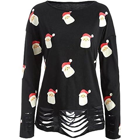 Baonoop_Mujeres de manga larga de Navidad Papá Noel Impresión cuello redondo Blusa Camiseta