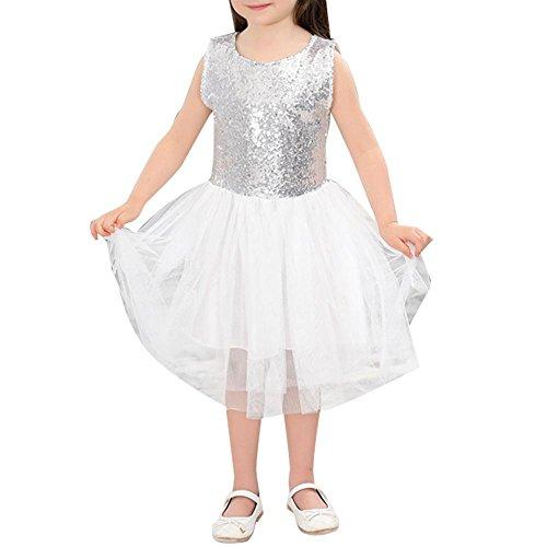 NACHEN Mädchen Pailletten Kleid Herz geformt ärmellos ausgesetzt Netz Garn Rock Mädchen Kind Prinzessin Rock , silver , (Kostüme Superhelden Monate Alte 18)