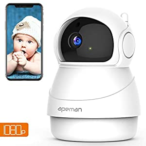 Apeman FHD 1080p Telecamera Sorveglianza Wifi, Videocamera IP Wireless Interno, Visione Notturna a Infrarossi, Audio… 41RcwDvdp6L. SS300