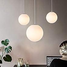 DAXGD Lampadario con sfera di vetro, Lampada a sospensione, Lampada interna singola per Camera da letto, Soggiorno, Corridoio, Ristorante, Bar 1pcs (15CM), E27