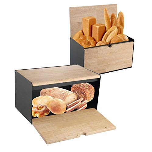 Klausberg Brotkasten Brotbox aus Metall/Holz 35,5 x 21,5 x 19,5 cm Schwarz KB-7395
