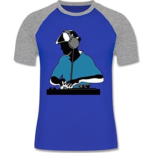 DJ - Discjockey - Discjockey - zweifarbiges Baseballshirt für Männer Royalblau/Grau meliert