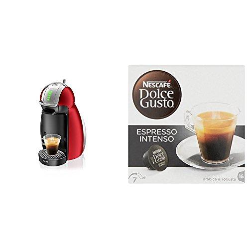 Pack Krups Dolce Gusto Genio 2 KP1605 - Cafetera de cápsulas, 15 bares de presión, color rojo + 3 packs de café Dolce Gusto Espresso Intenso