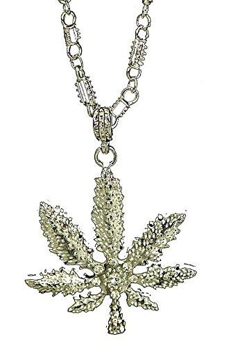 Cannabis-Blatt Halskette Kette in gold für Reggae Kostüm Zubehör (Stoner Kostüm)