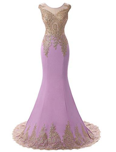 Erosebridal Lang Partykleid Abendkleid Sexy Meerjungfrau Ballkleider Lavendel DE56W