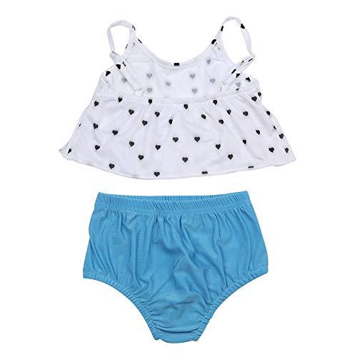 Baby Mädchen Schwimmen Anzug, 2 Stück Baby Mädchen Liebe Form Gedruckt Bademode Set Jeans Beachwear Schwimmen Anzug(80) (Stück Zwei Anzug Schwimmen)