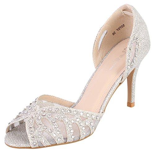 Chaussures pour demoiselle d'honneur/mariée mariage Stilleto de chaussures à talon Argent - argent