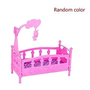 NAYUKY Mini-Cradle Bed Puppenstuben Spielzeug Möbel Puppenzubehör Kunststoff Miniatur-Mädchen-Spielzeug zufällige Farbe