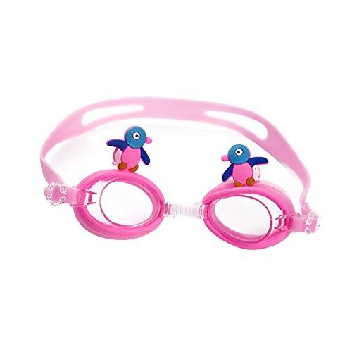 VRTUR Kinder Schwimmbrillen, Rutschfest, wasserdicht, lecksicher, qualitativ hochwertig, farbige Silikon-Kopfriemen, farbige Gläser, Einstellbarer Nasensteg