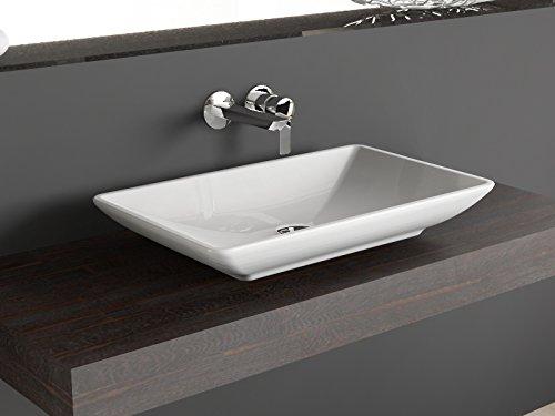 AQUA BAGNO Design-Aufsatzwaschbecken aus Keramik KB.Leon.001 60cm weiß Aufsatz-Waschschale Waschtisch (Keramik-sortiment Whirlpool)