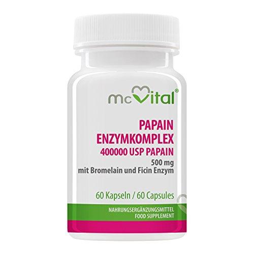 Papain Enzymkomplex - 400000 USP-E / g Papain 500 mg - mit Bromelain und Ficin Enzym - 60 Kapseln