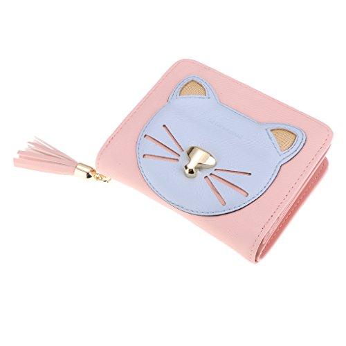 sharprepublic Mädchen Süße Katze Kurze Brieftasche Geldbörse Quaste Münztüte Reißverschluss Kartenhalter Hangbag - Rosa -