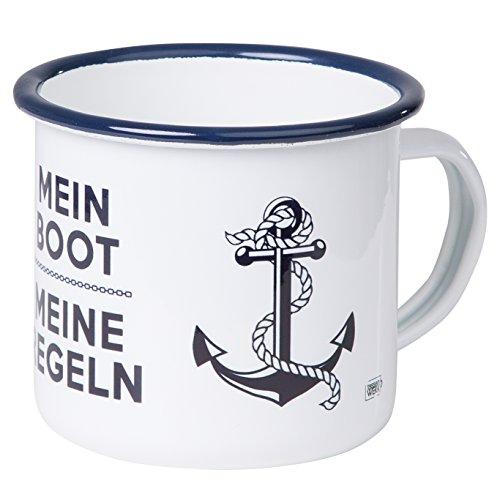 Mein Boot Meine Regeln - Hochwertiger Emaille Becher - mit maritimen Anker Design für Segler und Boot Liebhaber - leicht und robust - von MUGSY.de
