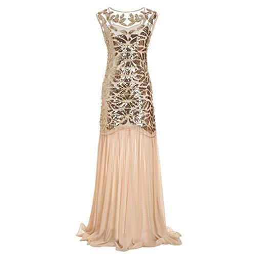 FORH 1920s Kleid Damen Retro 20er Jahre Stil Flapper Kleider mit O Ausschnitt Party Kleider Damen Kostüm Kleid Perlen Pailletten Wickelkleid Sommerkleider knielang (S, Khaki)