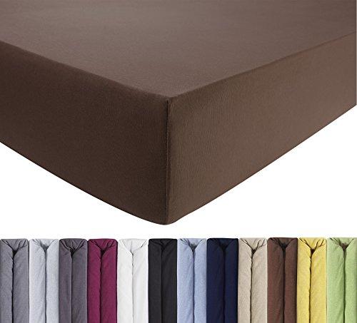 ENTSPANNO Jersey-Luxus-Spannbettlaken 140 x 200 | 160 x 220 cm für Wasser- und Boxspringbett in Dunkel-Braun aus gekämmter Baumwolle. Spannbetttuch mit Einlaufschutz bis 40 cm hohe Matratzen