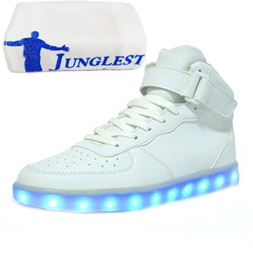 [Present:kleines Handtuch]JUNGLEST® Brinny 7 Farbe Sneaker USB Aufladen LED Leuchtend Fasching Partyschuhe Unisex Sportschuhe Turnschuhe Laufschuhe fü Weiß