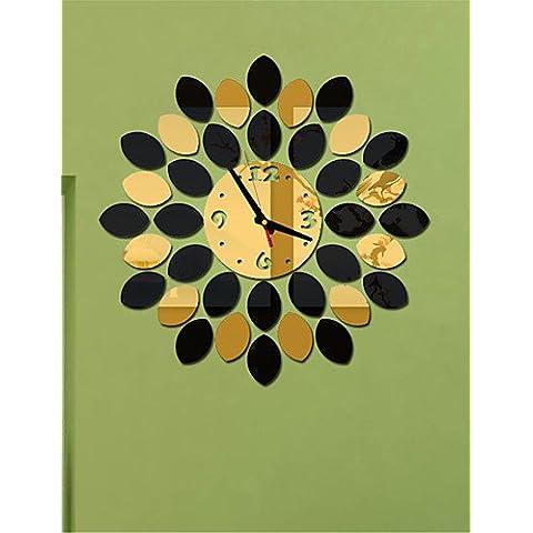 Da Wu Jia wall art parete quadrata in cristallo acrilico orologio Mirror TV parete di sfondo orologio orologio quattro camere da letto , golden+brown