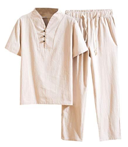 BingSai Herren Hemd und Hose, Ethno-Stil, Leinen, Baumwolle, kurzärmelig, 2-teilig Gr. US X-Large, Khaki